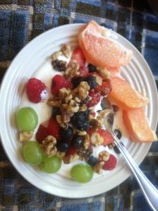 Plain Greek yogurt, fruit & nuts.